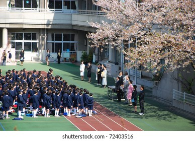 TOKYO, JAPAN - APRIL 04 : New class of spring period April 4, 2007 in Tokyo, Japan. Spring is season for beginning in Japan including new term for school kids.