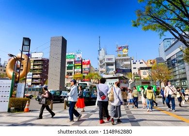 TOKYO JAPAN - APRIL 1, 2018 : Kinshicho neighborhood, Tourists and workers use the taxi service for lunch shop and shopping. back is the Skytree tower building. Tokyo's must-see places to visit.