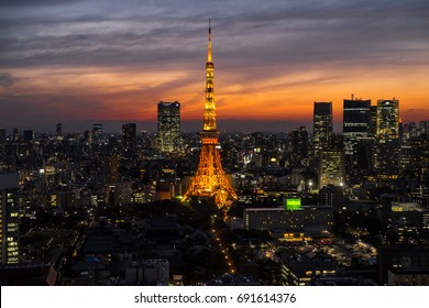 Tokyo, Japan - April 10, 2017 : Tokyo Tower was the tallest artificial structure in Japan until 2010 when the new Tokyo Skytree became the tallest building of Japan.