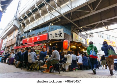 Tokyo, Japan. April 12, 2017. crowd of people or tourist walking and shopping along the Ameyoko market street near UENO station.