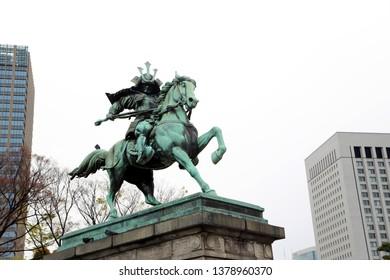 Tokyo, Japan - April 12, 2019: Kusunoki Masashige Statue in Tokyo Imperial Palace, Japan