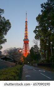 TOKYO, JAPAN - APRIL 14, 2017: Tokyo Tower under twilight evening sky. Tokyo tower built in 1958, used as main source of antenna leasing and tourism. It is famous landmark in Tokyo.