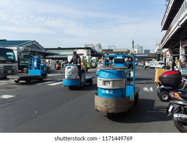 TOKYO, JAPAN - APRIL, 17, 2016: The turret truck for transporting goods around the Tsukiji market. It is a large wholesale market for fish, fruits and vegetables in central Tokyo.