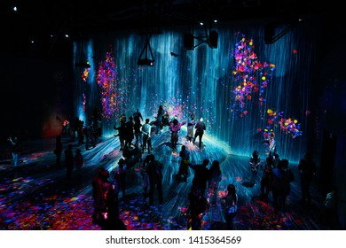 Tokyo, Japan - April 17, 2019 - teamLab Borderless is a digital art museum located in Odaiba, Tokyo.