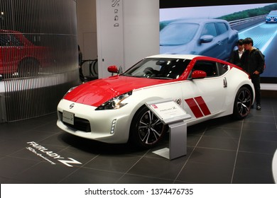 TOKYO, JAPAN - April 18, 2019: A special edition 50th anniversary Datsun Fairlady Z on display at the Nissan Crossing showroom in Ginza Place.