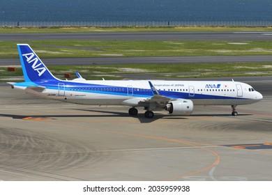 Tokyo, Japan - April 18, 2021:All Nippon Airways (ANA) Airbus A321-200N (JA138A) passenger plane.