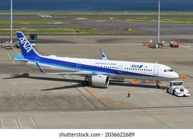 Tokyo, Japan - April 18, 2021:All Nippon Airways (ANA) Airbus A321-200N (JA134A) passenger plane.