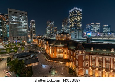 Tokyo, Japan - April 18,2019 : Beautiful night scene of Tokyo Station, the capital of Japan and the biggest and busiest terminal station in Japan.