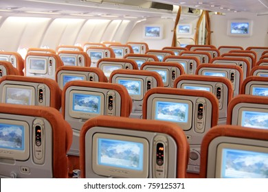TOKYO, JAPAN - APRIL 19, 2009: Rear view of economy class seats at Airbus A330 airplane operated by Aeroflot Russian Airlines flying between Tokyo, (Narita Airport) and Moscow  (Sheremetyevo 2)