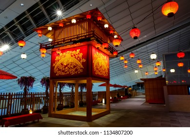 TOKYO, JAPAN - APRIL 19 2018: Interior of japanese retro achitectures at Haneda airport