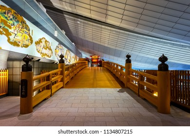 TOKYO, JAPAN - APRIL 19 2018: Nihonbashi bridge  is a half size reproduction of famous wood bridge in the edo period, the new bridge located on the 4th floor of Haneda airport