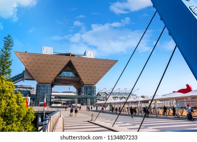 TOKYO, JAPAN - APRIL 19 2018: Tokyo Big Sight officially known as Tokyo International Exhibition Center in Odaiba is the largest covention center in Japan