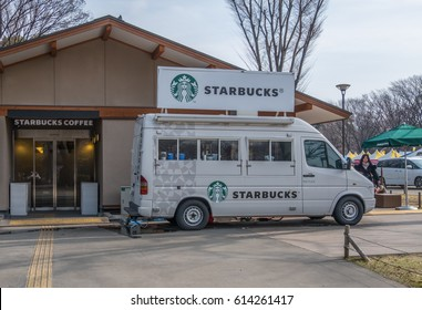 TOKYO, JAPAN - APRIL 1ST 2017. Starbucks coffee house mobile van. Founded in 1971, Starbucks Corporation is an American coffee company and coffeehouse chain.