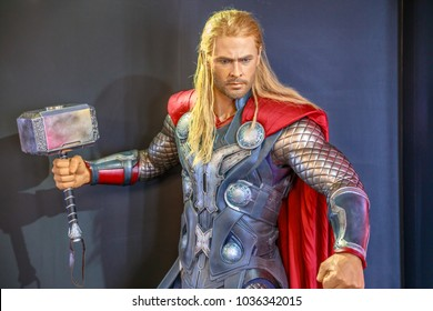 Tokyo, Japan - April 20, 2017: portrait of Thor, the God of Thunder, model with an enchanted hammer Mjolnir, from Age of Heroes movie at Mori Tower, Roppongi Hills complex, Minato Tokyo.