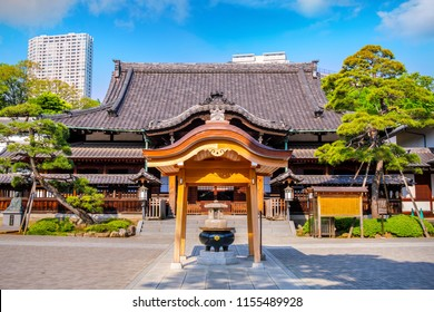 """TOKYO, JAPAN - APRIL 20 2018: Sengakuji Temple famous for its graveyard where the """"47 Ronin"""" are buried. The story of the 47 loyal ronin remains one of the most popular historical stories in Japan"""