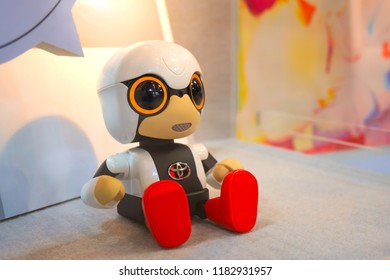 Tokyo, Japan - April 20 2018: Kirobo Mini at Toyota Mega Web.  It's a miniature communication partner developed to provide companionship. It fits in the palm of the hand, only 10cm high when seated
