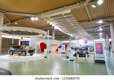 Tokyo, Japan - April 20 2018: Toyota Mega Web in Odaiba island is an automotive focused theme park and showroom which portrays Toyota history and its newest technological developments