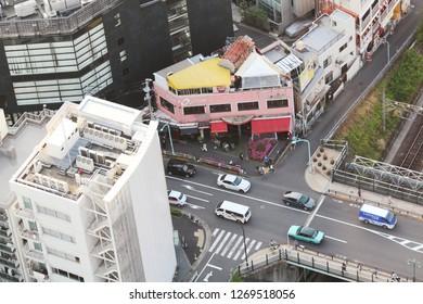 TOKYO, JAPAN - April 20, 2018: Overhead view of Shibuya Ward's Ebisu area.