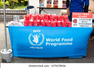 Tokyo, Japan - April 20, 2019: Earth Day in Yoyogi park. The World Food Programme WFP is food-assistance branch and world's largest humanitarian organization addressing hunger, promoting food security