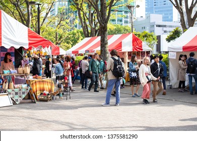 Tokyo, Japan - April 20, 2019: Earth Day in Yoyogi park in Tokyo. Earth Day is an annual event celebrated on April 22. Worldwide, events are held to demonstrate support for environmental protection