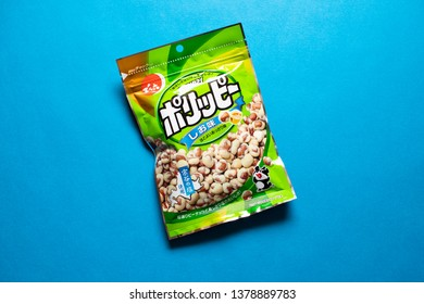 Tokyo, Japan, April 20, 2019: Porippy Peanuts - a popular traditional Japanese wagashi snack, this crunchy peanuts snack is just as popular as a bar snack as it is with regular snackers.