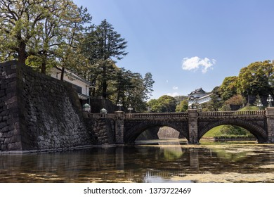 Tokyo, Japan - April 2017: Bridge over the moat at the Imperial Palace in Chiyoda