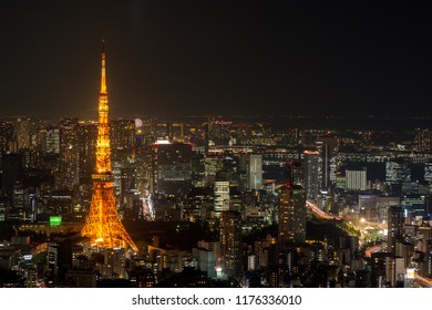 Tokyo / Japan - April 20th 2018: 333 meters high Tokyo Tower, a symbol of Japan's post-war rebirth as a major economic power. It is the world's tallest, self-supported steel tower.