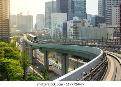 Tokyo, Tokyo / Japan - April 21st 2015: Yurikamome Train Line To Odaiba In Tokyo