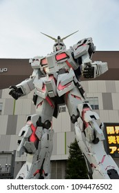 Tokyo, Japan - April 22, 2018: Real Scale Unicorn Gundam Robot Model at Diver City Tokyo Plaza Mall in Odaiba is the 2nd generation since the 1st Real Scale Gundam RX-78-2 Gunpla Robot.