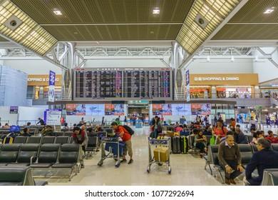 TOKYO , JAPAN - April 23 , 2018 : Inside of Narita airport terminal 2 in Japan. Narita Airport is the predominant international airport in Japan.
