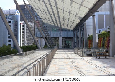TOKYO, JAPAN - April 23, 2020: The Granroof commericial facility in Yaesu by Tokyo Station. It is empty due to coronavirus outbreak. It was designed by Helmut Jahn.