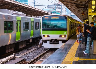 Tokyo, Japan - April 24 2018: The Yamanote Line is a railway loop line in Tokyo connecting most of Tokyo's major stations and urban centres