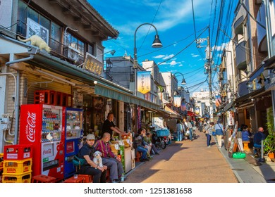 Tokyo, Japan - April 25 2018: Yanaka Ginza is one of the few districts in Tokyo where the shitamachi atmosphere, an old town ambience reminiscent of Tokyo from past decades, still survives