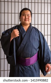 Tokyo, Japan - April 25 2018: Young Japanese Sumo wrestler at Ryogoku Kokugikan (Ryogoku Sumo Hall)