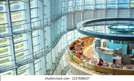 Tokyo, Japan - April 26 2018: The national Art Center in Roppongi - an art museum displays contempory art exhibiton with no permanent collection, it's one of the largest exhibition spaces in Japan