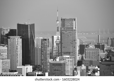 TOKYO, JAPAN - APRIL 26,2019: The art background of the modern building in Tokyo cityscape viewing from the top floor at Tokyo Metropolitan Government Building, Tokyo