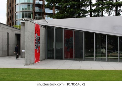 TOKYO, JAPAN - April 27, 2018: View of section of the Tadao Ando-designed art museum 21_21 Design Site which is located in Roppongi's Tokyo Midtown.
