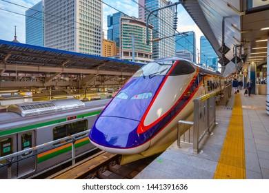 Tokyo, Japan - April 27 2018: Japanese Shinkansen high speed train at a train station