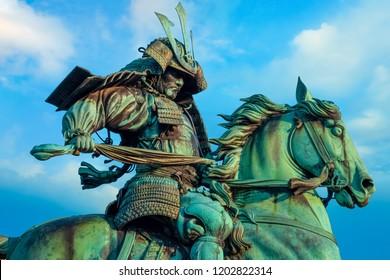Tokyo, Japan - April 28 2018: Statue of the great samurai Kusunoki Masashige, famed Japanese samurai at the East Garden outside Tokyo Imperial Palace
