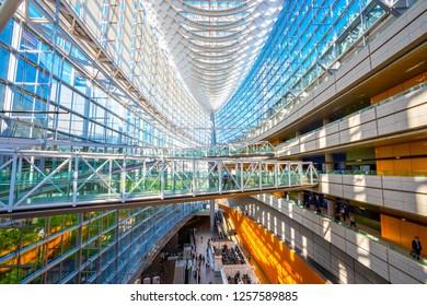 Tokyo, Japan - April 28 2018: Tokyo International Forum is a multi-purpose exhibition center, designed by architect Rafael Vinoly and completed in 1996