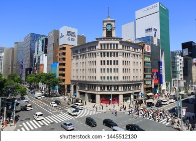 Tokyo, Japan - April 28 2018 : Ginza District. Ginza is most famous upmarket shopping, dining and entertainment district.