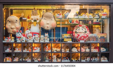 TOKYO, JAPAN - APRIL 29 2018: Souvenir shop at Nakamise shopping street famous for souvenir shops line up the way toward Sensoji Asakusa Temple