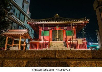 Tokyo, Japan - April 30, 2016: Small shrine near Senso-ji temple at night in Asakusa, Tokyo. Asakusa is a famous tourism district with famous temple Sensoji and Tokyo Sky Tree