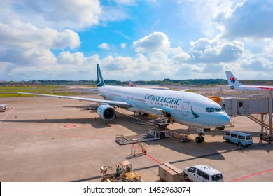 Tokyo, Japan - April 30 2018: Cathay Pacific flight docks in narita International Airport one of  the world's busiest passenger airports