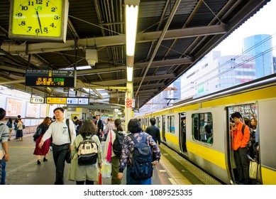 TOKYO JAPAN - APRIL 4 , 2018 : JR. Asakusa station, Unidentified Japanese are returning home after work. service by Metro is considered the most popular way of living in the capital.