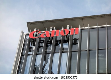 Tokyo / Japan - April 6, 2016: Canon office building in Tokyo. Canon is a Japanese multinational corporation specializing in optical, imaging, and industrial products.