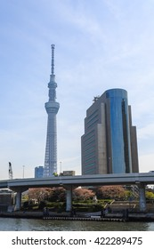 Tokyo, Japan - April 9, 2016: View of Tokyo Sky Tree (634m), the highest free-standing structure in Japan.