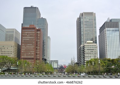 Tokyo, Japan - April 9, 2016: Looking towards the Tokyo Station from the Imperial Palace