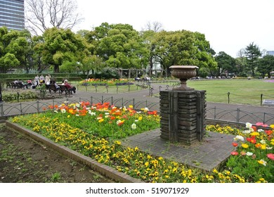 Tokyo, Japan - April 9 2016: Hibiya Koen, the first western park in Japan, located next to the Imperial Palace. It was estate of Matsudaira until Shogunate, and then used as a military parade ground.