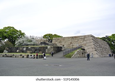 Tokyo, Japan - April 9, 2016: Stone walls of main building of Edo castle ruins. Originally built in 1457. It is now part of Tokyo Imperial Palace. A historic site where shogun Tokugawa lived.